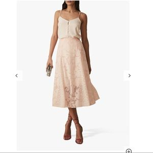 NWT Reiss cream lace pleated skirt